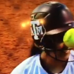 College softball player shows the importance of wearing a facemask
