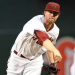 Archie Bradley leaves start after being hit in the face with a line drive